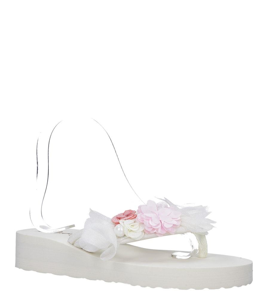 Kremowe klapki japonki na koturnie z kwiatkami Casu 198-20