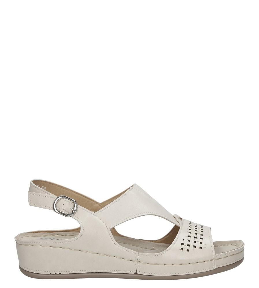 Kremowe sandały ażurowe na koturnie Casu 2551-7