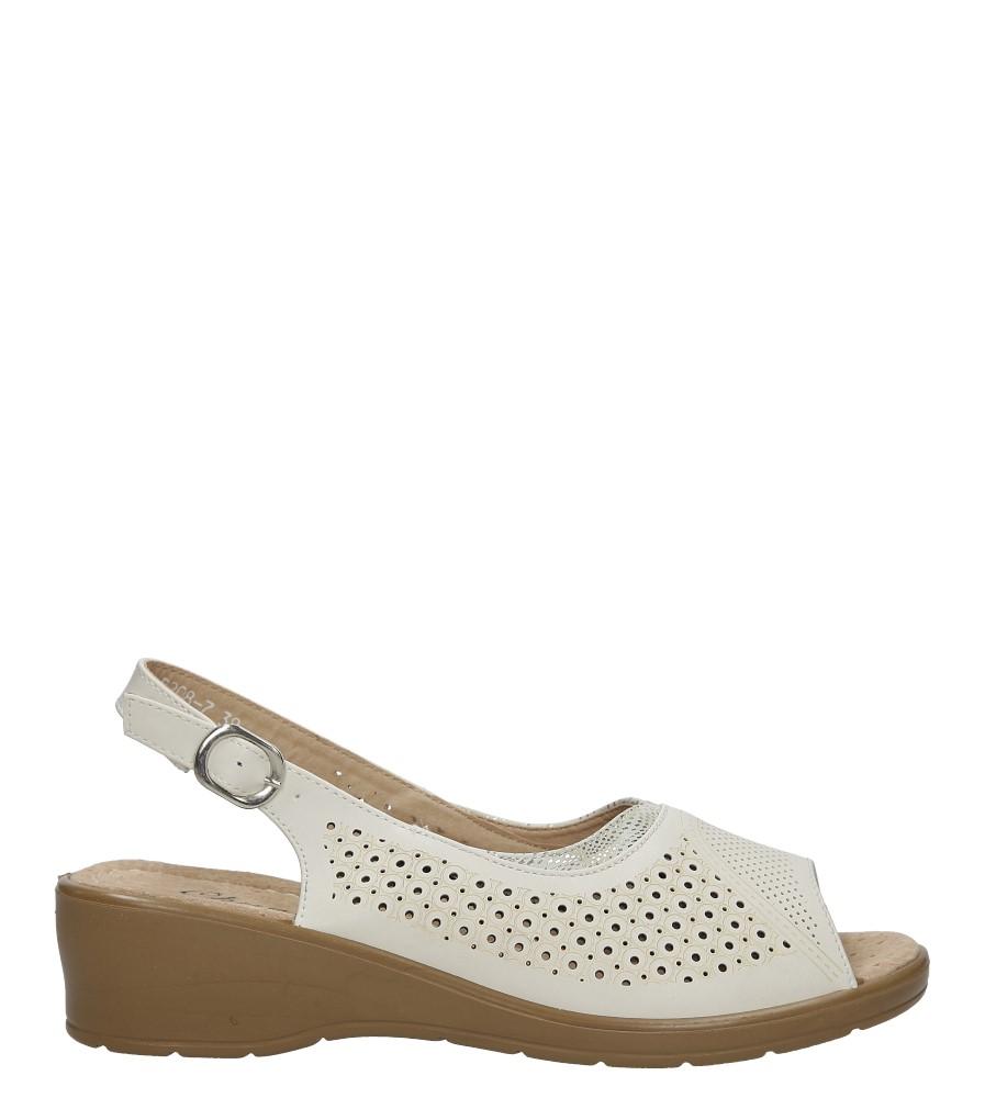 Kremowe sandały ażurowe na koturnie Casu B208-7