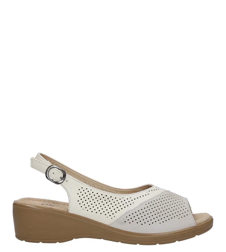 Kremowe sandały ażurowe na koturnie Casu B209-12