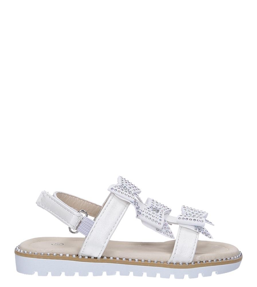 Kremowe sandały z kokardką i cyrkoniami na rzep Casu 8957B