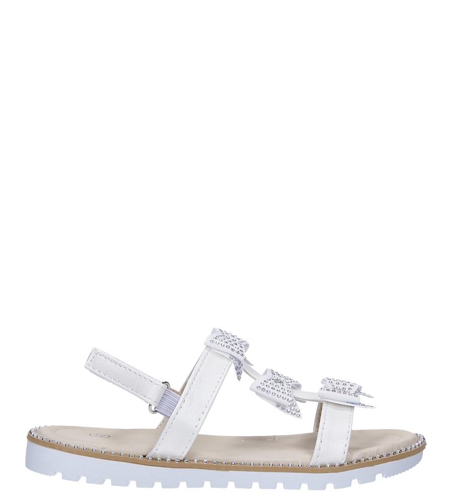 Kremowe sandały z kokardką i cyrkoniami na rzep Casu 8957C