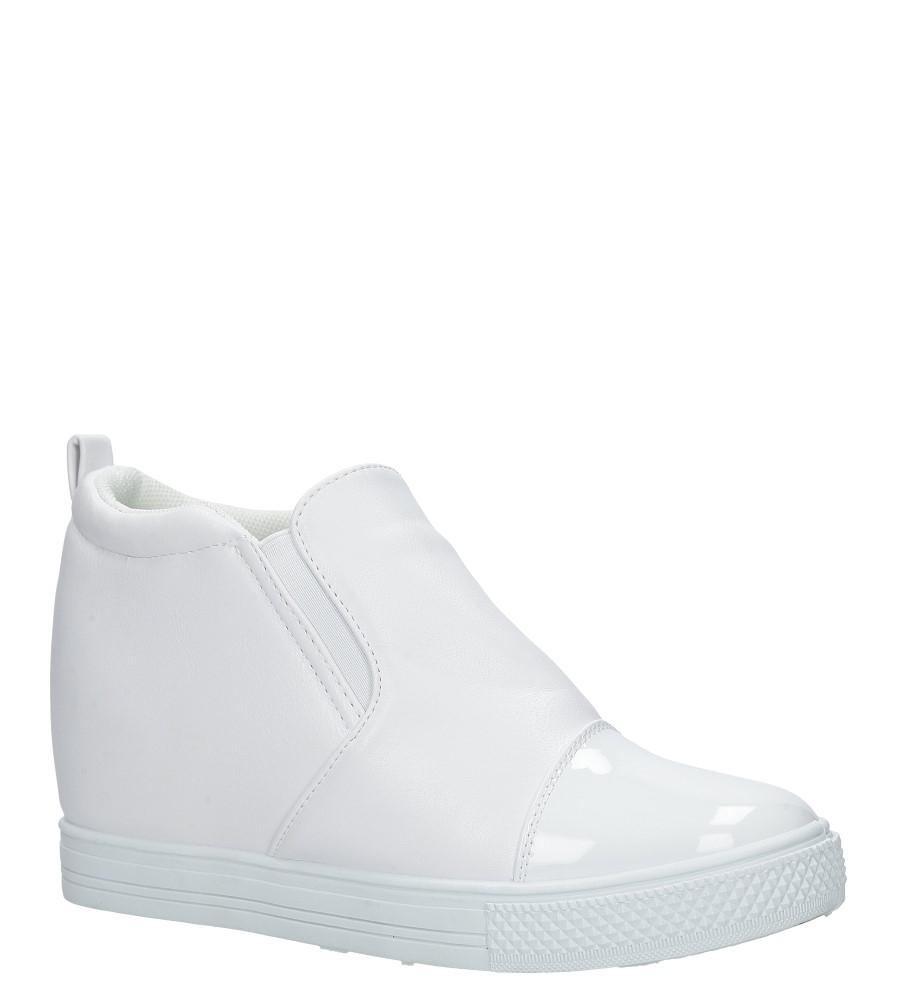 Kremowe sneakersy na koturnie lakierowany czubek Casu DD409-2 kremowy