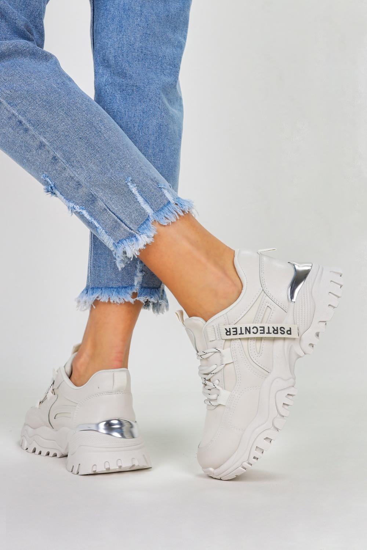 Kremowe sneakersy na platformie buty sportowe sznurowane Casu BL211P kremowy