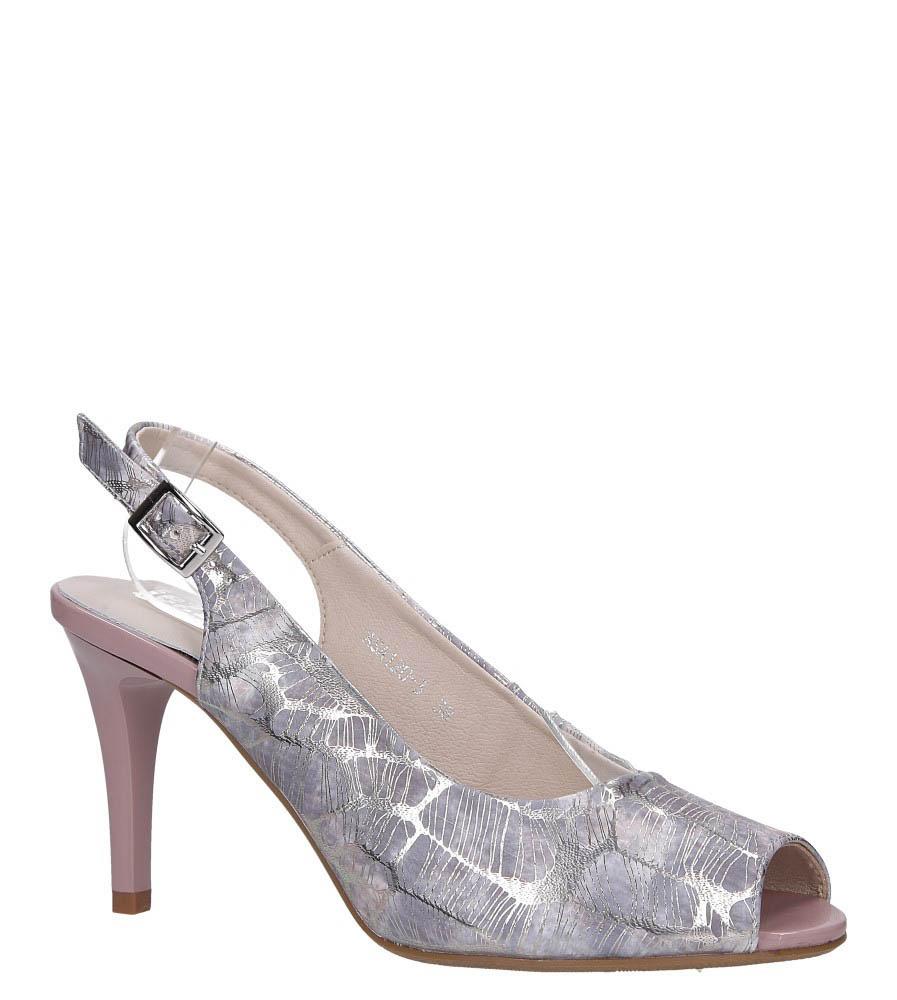 Lawendowe sandały szpilki błyszczące ze skórzaną wkładką Jezzi ASA120-3 lawendowy
