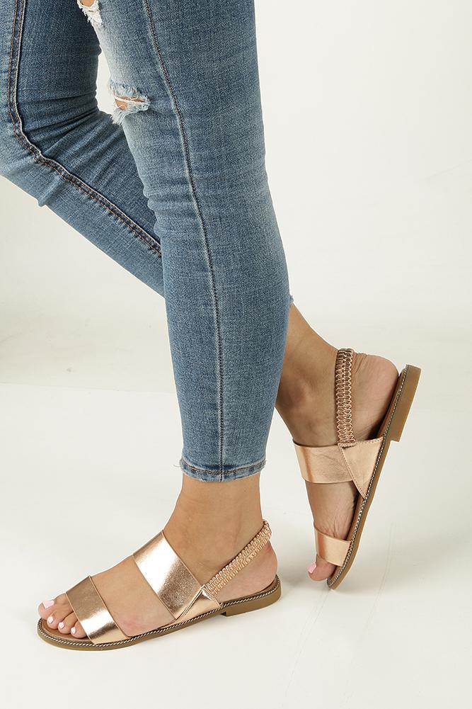 Miedziane sandały płaskie Casu 99-43