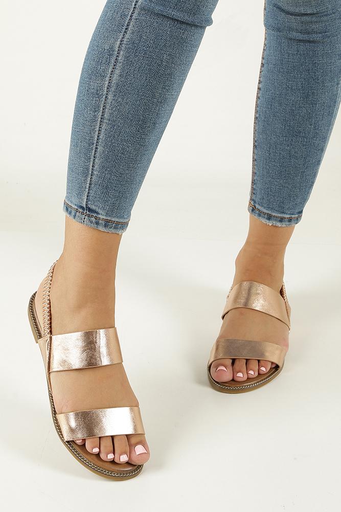 Miedziane sandały płaskie Casu 99-43 wierzch skóra ekologiczna
