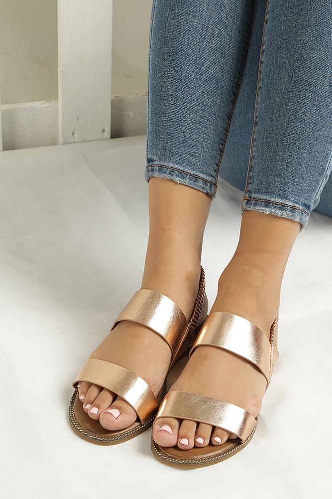 Miedziane sandały płaskie Casu 99-43 wnetrze skóra ekologiczna