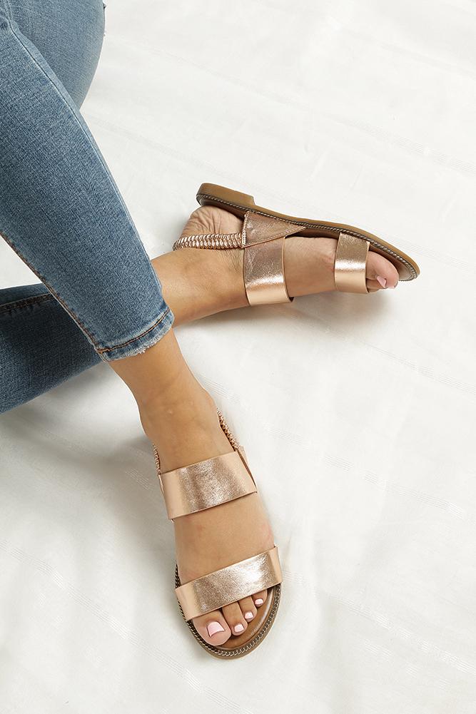 Miedziane sandały płaskie Casu 99-43 wkladka skóra ekologiczna