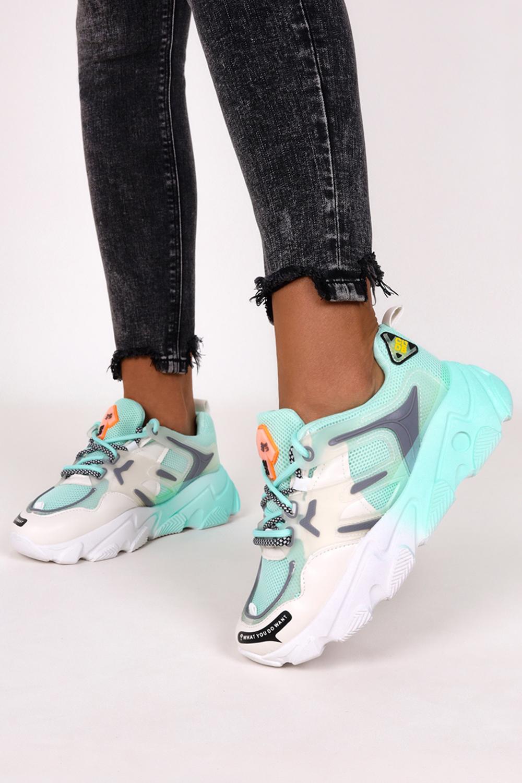 Miętowe sneakersy na platformie buty sportowe sznurowane Casu 21F2/M miętowy