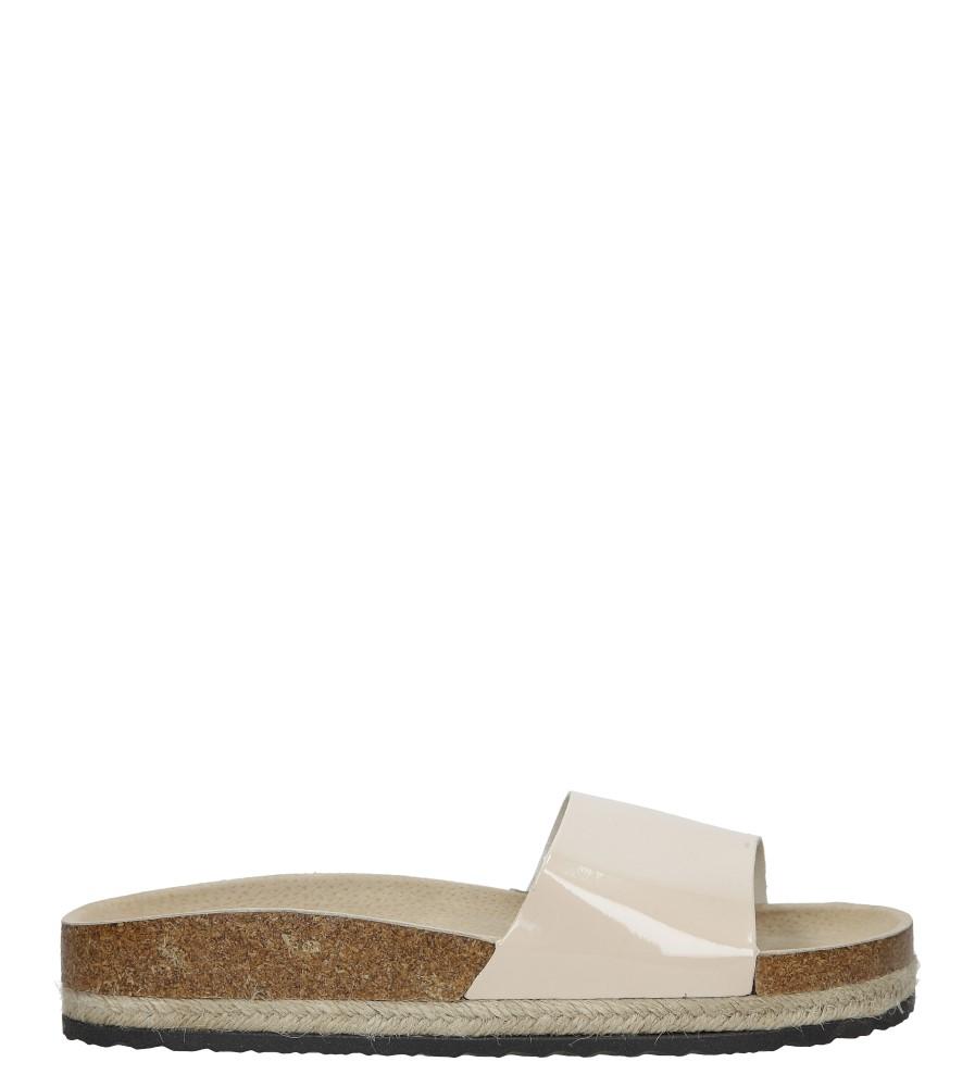 Modne beżowe lakierowane klapki ze skórzaną wkładką na platformie z plecionką ze sznurka Casu B18X8/BE sezon Lato