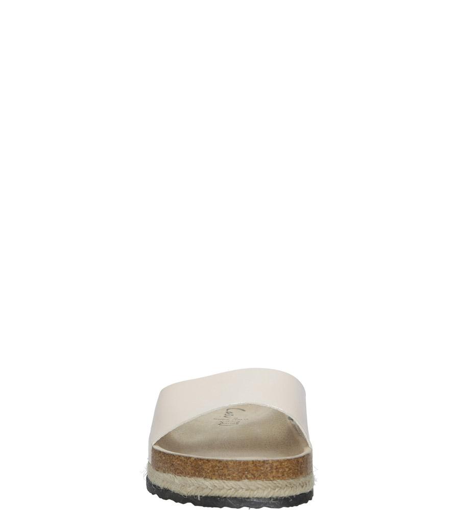Modne beżowe lakierowane klapki ze skórzaną wkładką na platformie z plecionką ze sznurka Casu B18X8/BE kolor beżowy