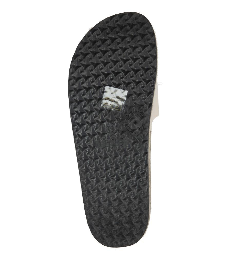 Modne beżowe lakierowane klapki ze skórzaną wkładką na platformie z plecionką ze sznurka Casu B18X8/BE wys_calkowita_buta 9 cm