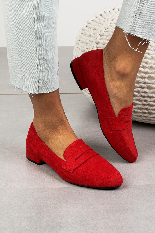 Mokasyny Sergio Leone czerwone MK734 czerwony