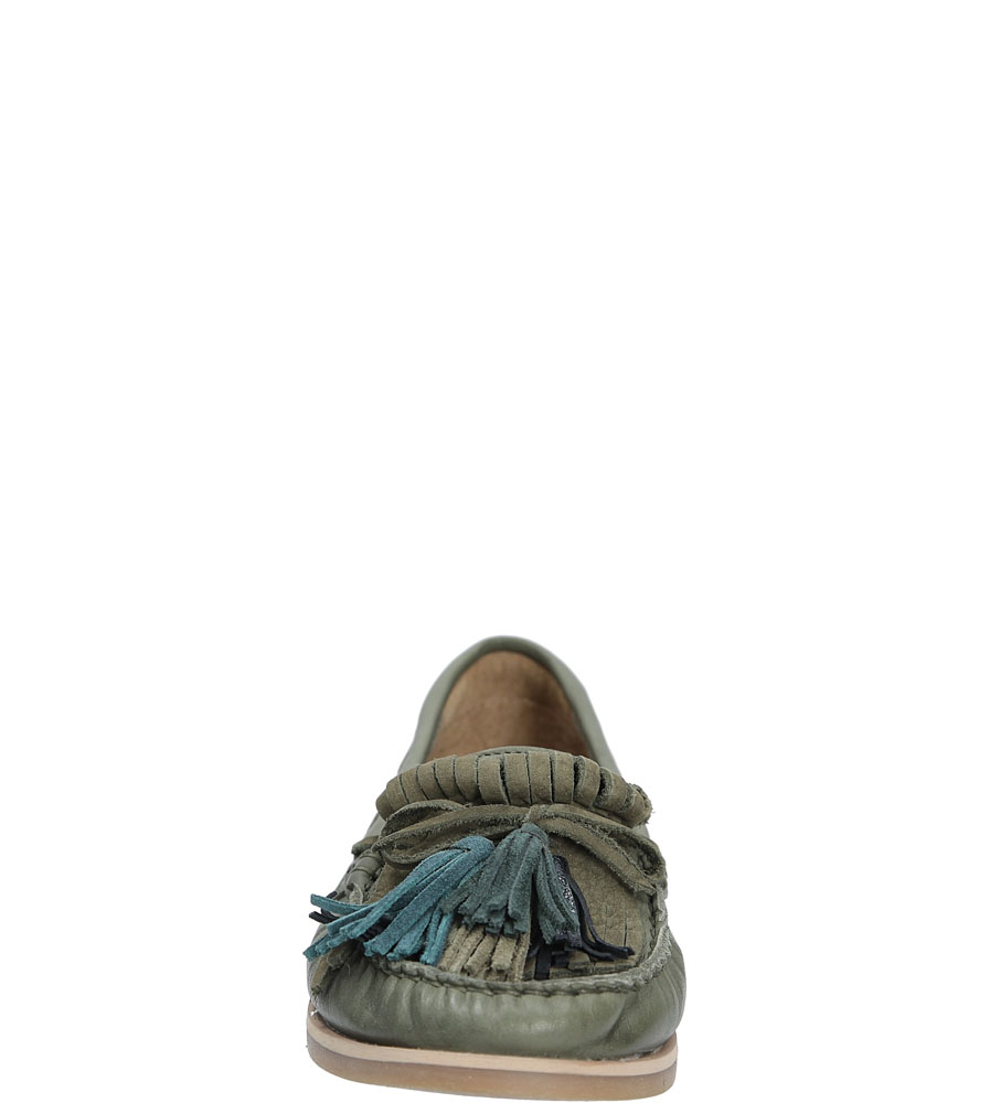 Mokasyny skórzane z frędzlami Nessi 17127 kolor khaki