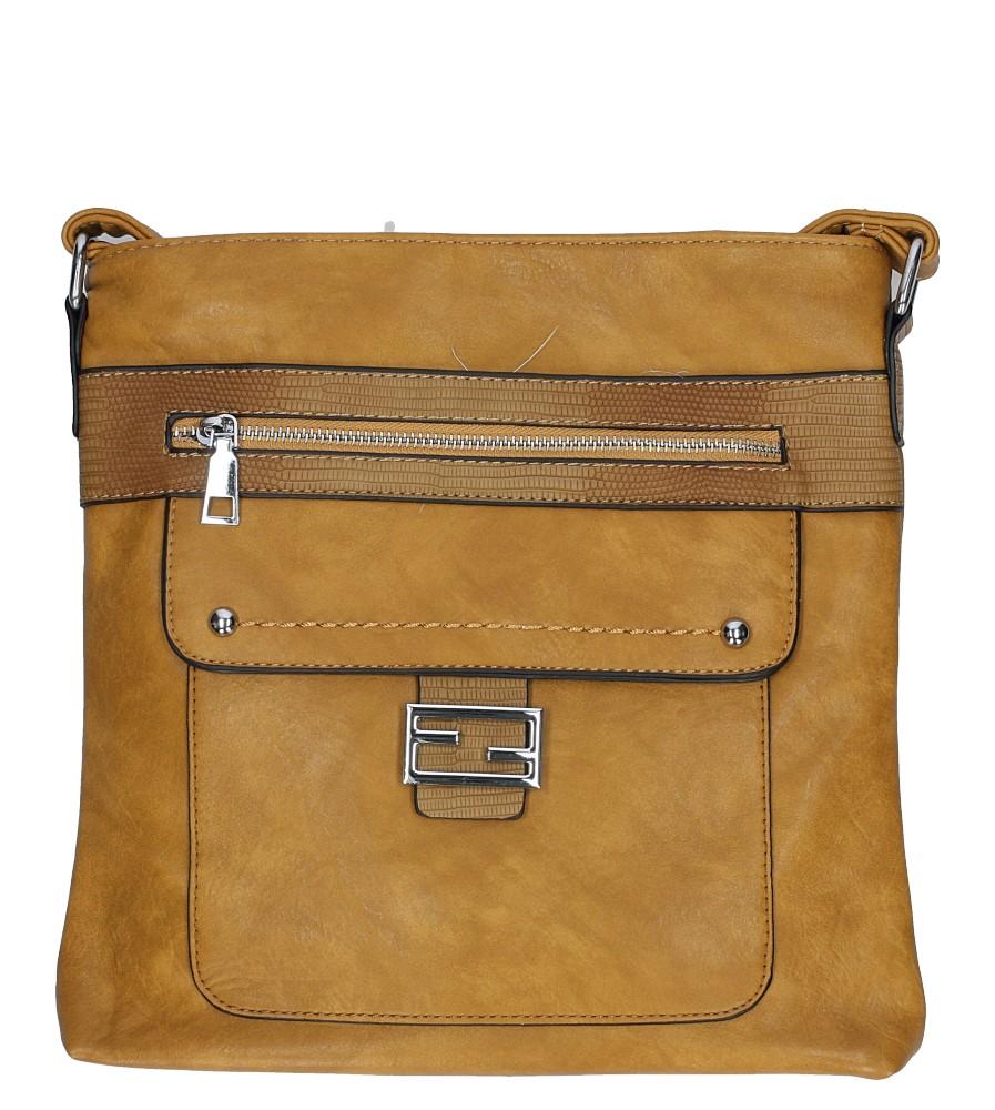 Musztardowa torebka listonoszka z metalową ozdobą Casu D54
