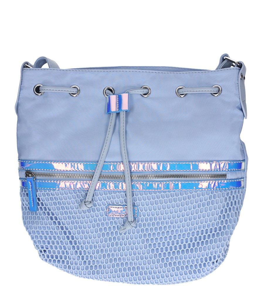 Niebieska torebka listonoszka z kieszonką z przodu i holograficzną wstawką Casu 4384-MH