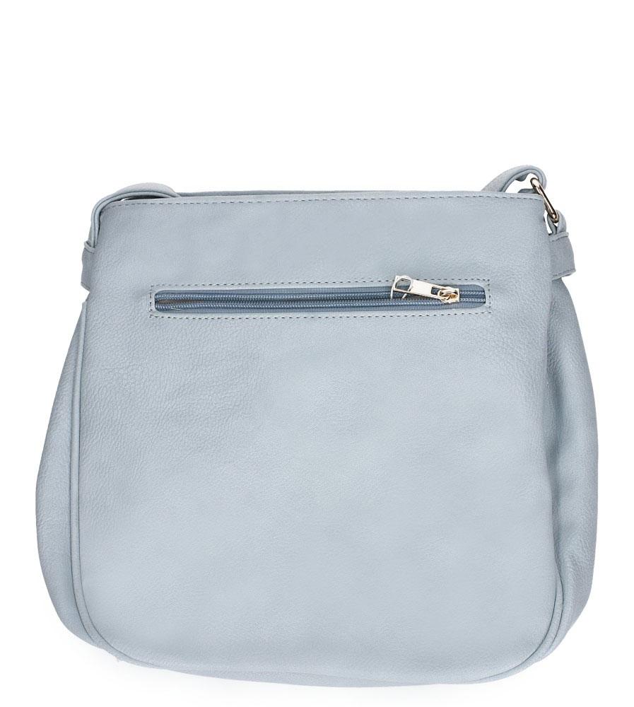 Niebieska torebka listonoszka z kieszonką z przodu i ozdobnymi suwakami Casu AD-30 kolor jasny niebieski