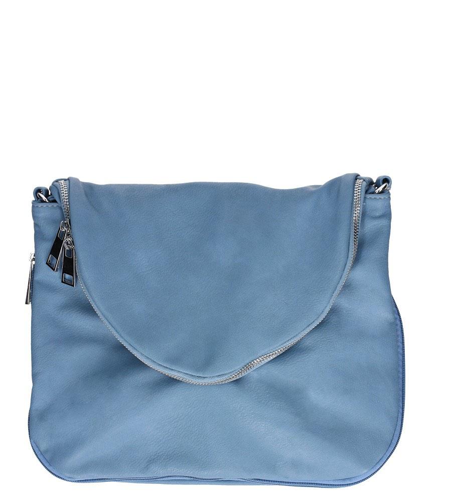Niebieska torebka listonoszka z ozdobnym suwakiem Casu 23-MH