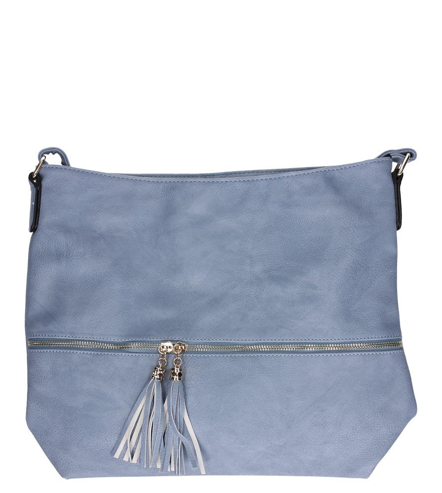 Niebieska torebka listonoszka z ozdobnym suwakiem Casu AC-92
