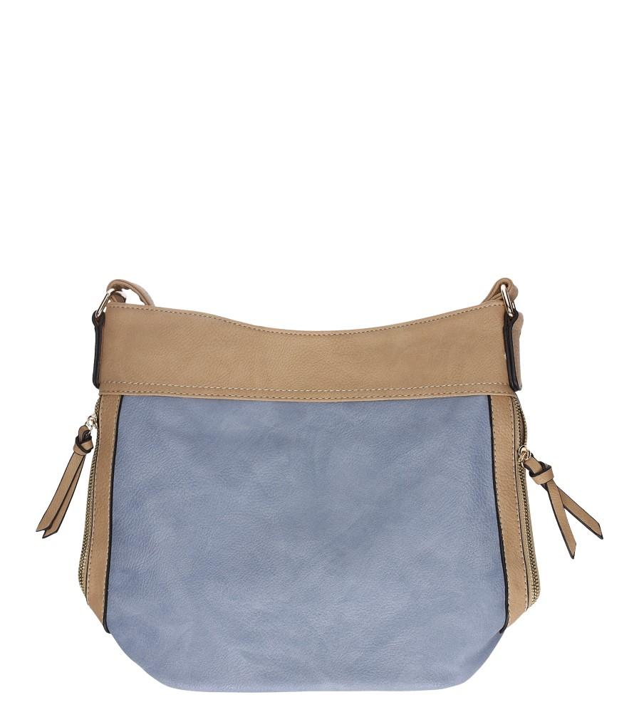 Niebieska torebka listonoszka z ozdobnymi suwakami Casu AC-100