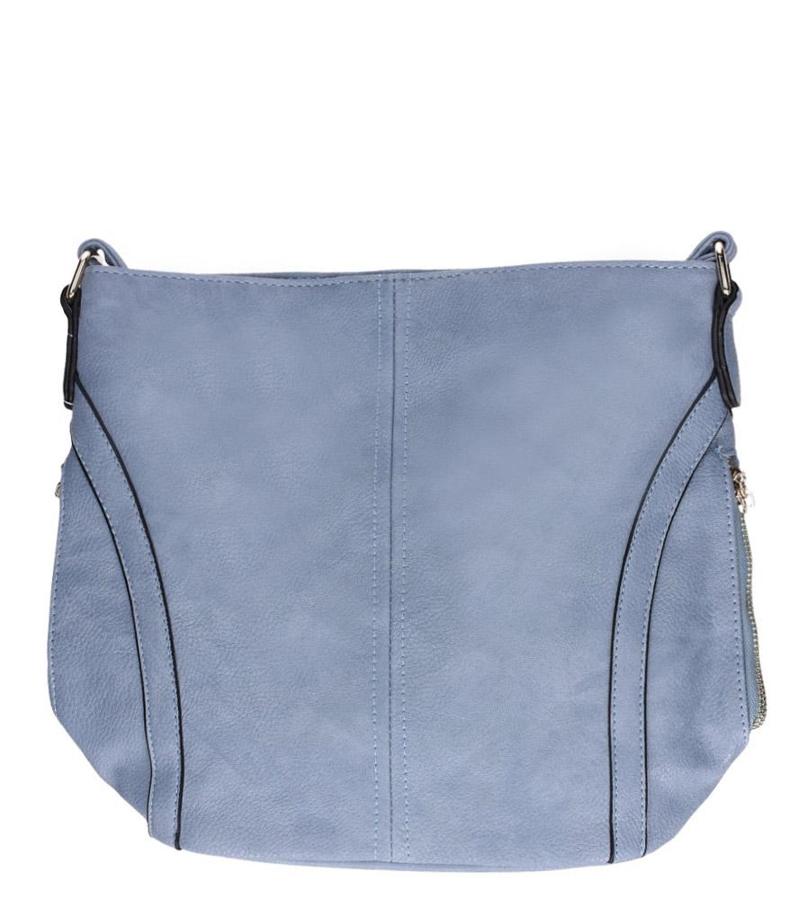 Niebieska torebka listonoszka z ozdobnymi suwakami Casu AC-98