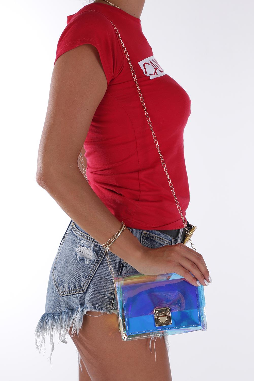 Niebieska torebka mała holograficzna na łańcuszku Casu 300001