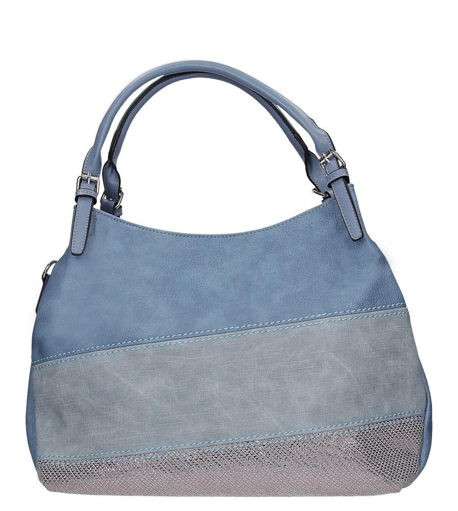 Niebieska torebka z błyszczącym paskiem Casu AC-51