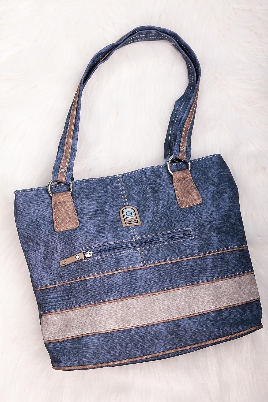 Niebieska torebka z ozdobnym suwakiem Casu DS2036
