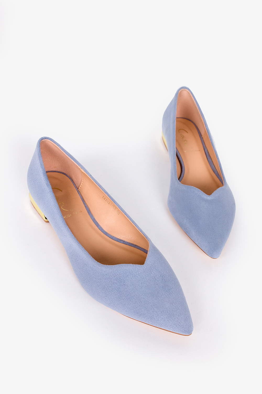 Niebieskie baleriny Casu na ozdobnym niskim obcasie ER21X1/LB wys_calkowita_buta 8.5 cm
