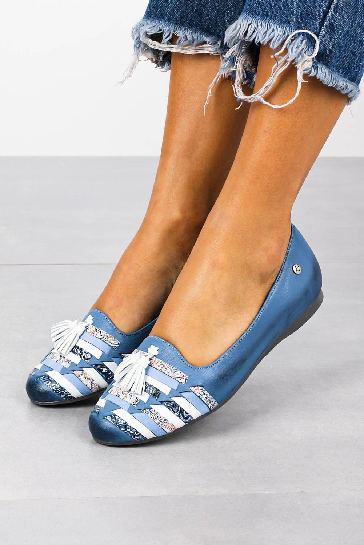 Niebieskie baleriny Maciejka skórzane z kolorowymi paskami 04016-06/00-5