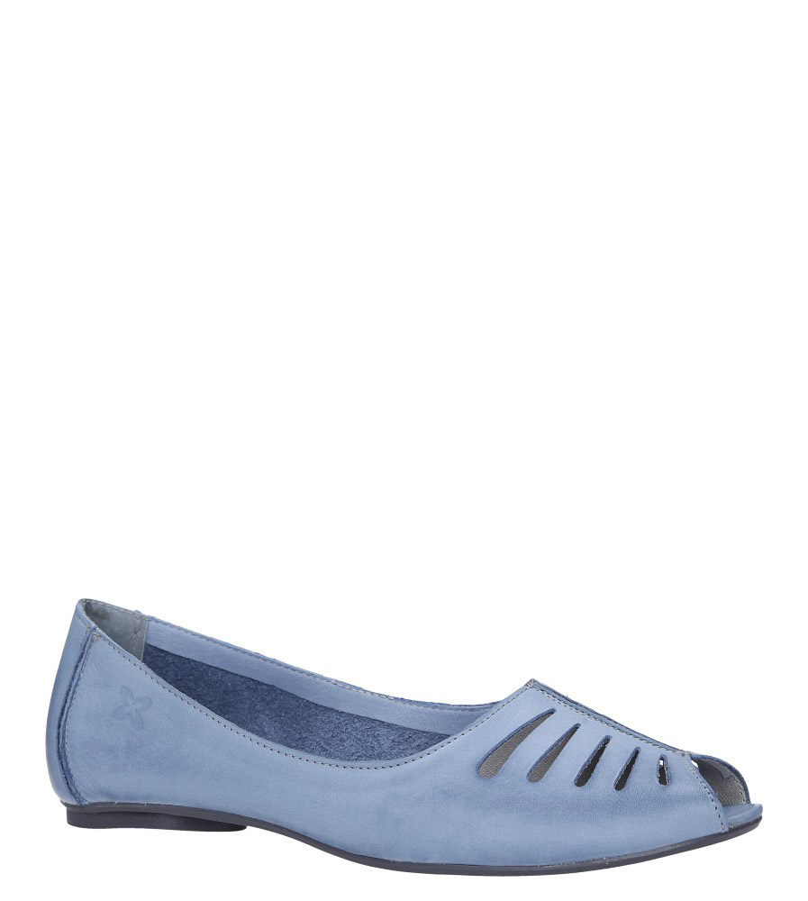 Niebieskie baleriny skórzane z odkrytymi palcami Maciejka 03497-33/00-6