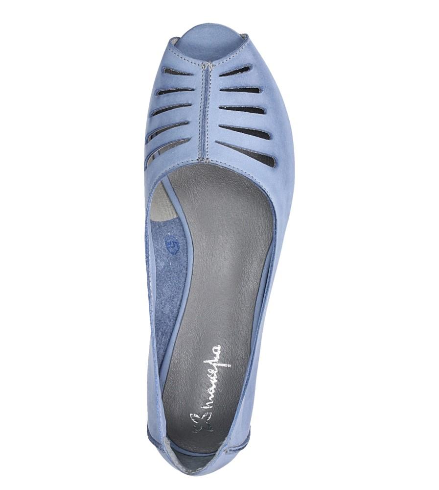 Niebieskie baleriny skórzane z odkrytymi palcami Maciejka 03497-33/00-6 wys_calkowita_buta 8.5 cm