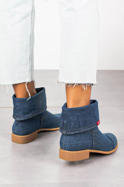 Niebieskie botki Jezzi wiosenne jeansowe ASA142-7A