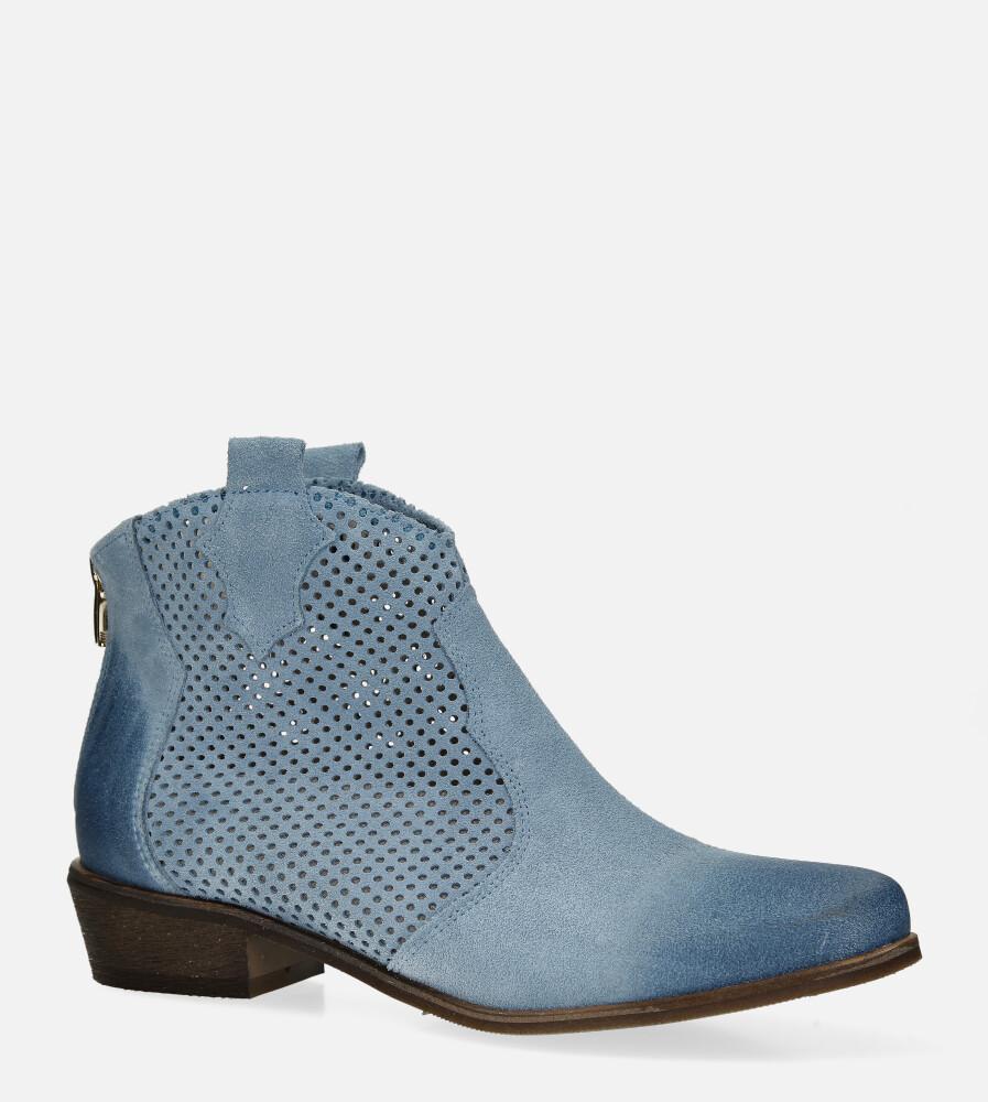 Niebieskie botki kowbojki skórzane wiosenne ażurowe Exquisite 1166 jasny niebieski