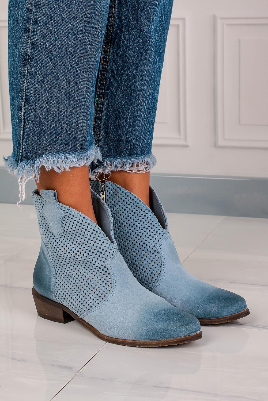 Niebieskie botki kowbojki skórzane wiosenne ażurowe Exquisite 1168 jasny niebieski