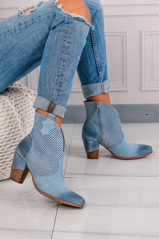 Niebieskie botki kowbojki skórzane wiosenne ażurowe na słupku Exquisite 1167 jasny niebieski
