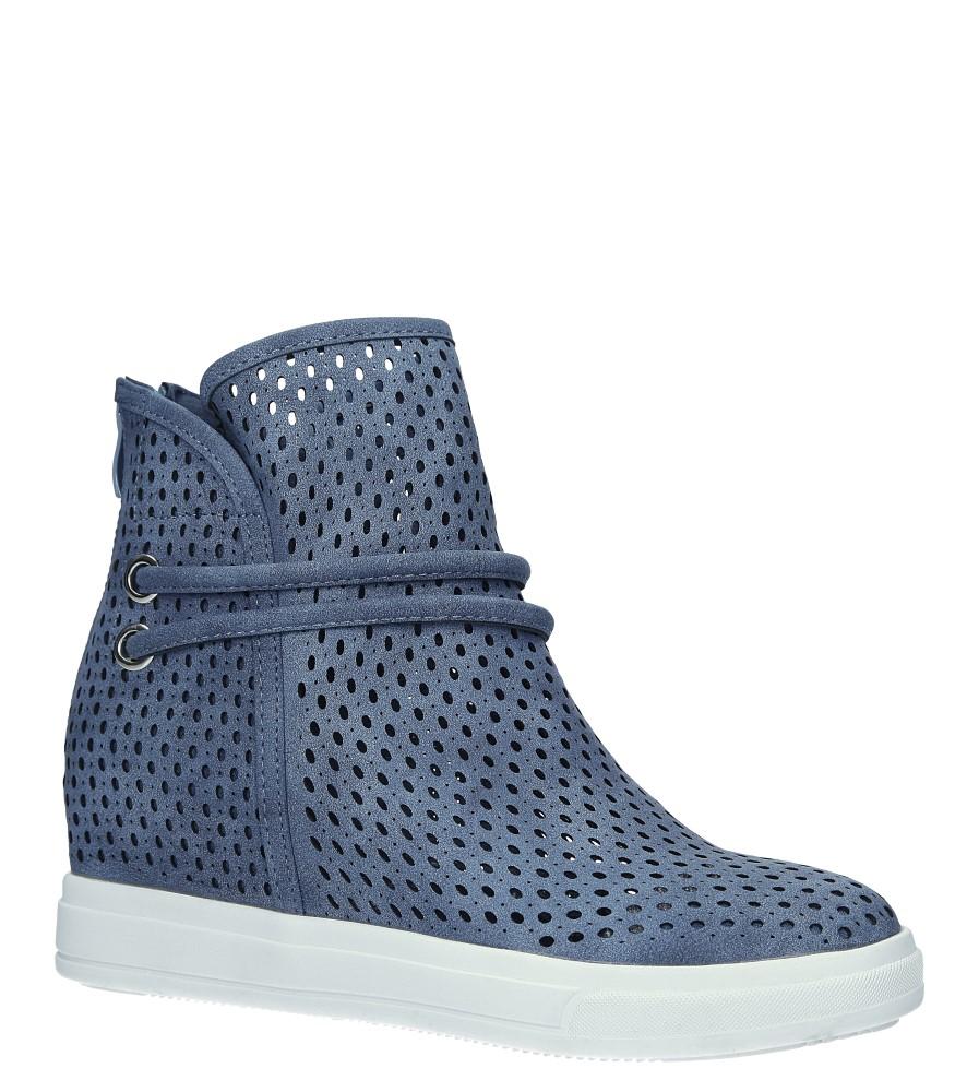 Niebieskie botki sneakersy wiosenne ażurowe na koturnie Jezzi ASA143-3 niebieski