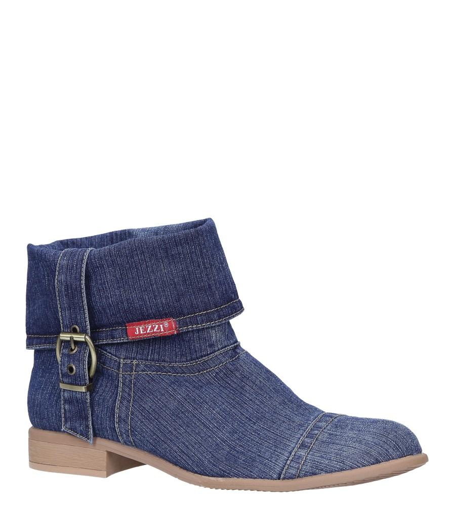 Niebieskie botki wiosenne jeansowe z ozdobną klamerką Jezzi ASA142-7 ciemny niebieski