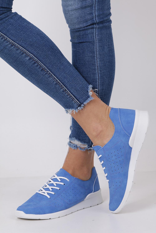 Niebieskie buty sportowe ażurowe sznurowane Casu B58-2