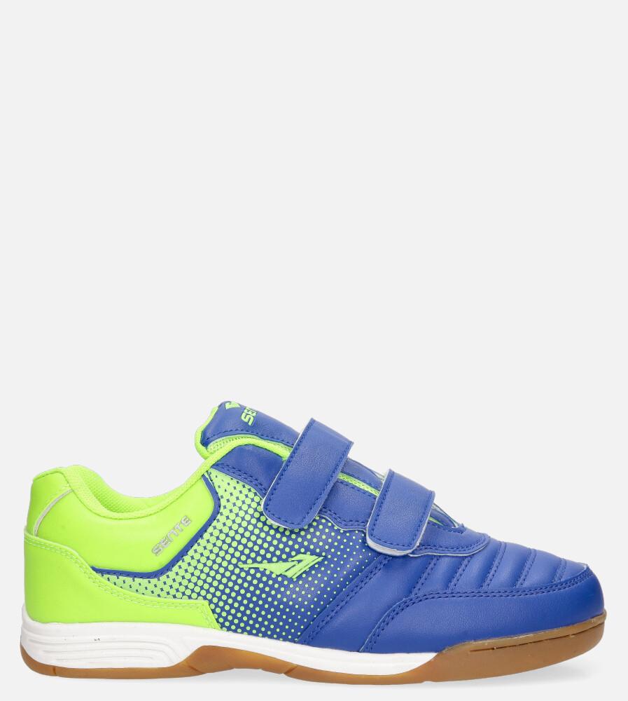 Niebieskie buty sportowe halówki na rzepy Casu A1601B-3 niebieski