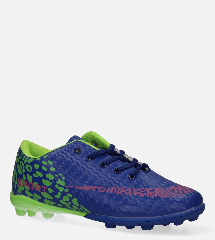 Niebieskie buty sportowe korki sznurowane Casu 20M1/M