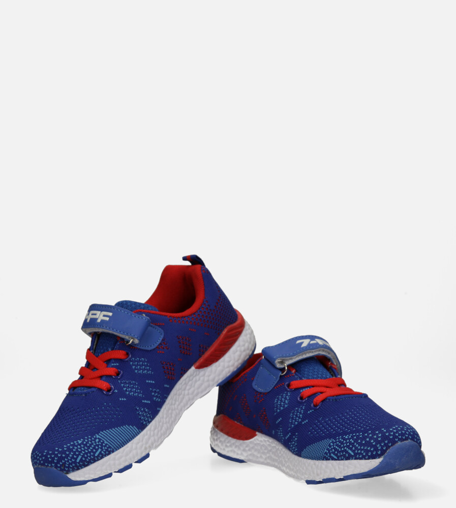 Niebieskie buty sportowe na rzep Casu 20P8/M/2 kolor czerwony, niebieski