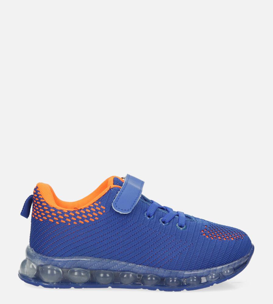 Niebieskie buty sportowe na rzep Casu 918A ciemny niebieski