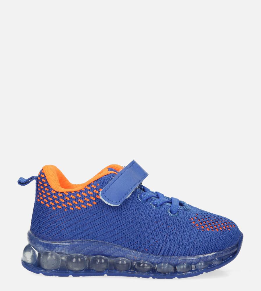 Niebieskie buty sportowe na rzep Casu 918B ciemny niebieski