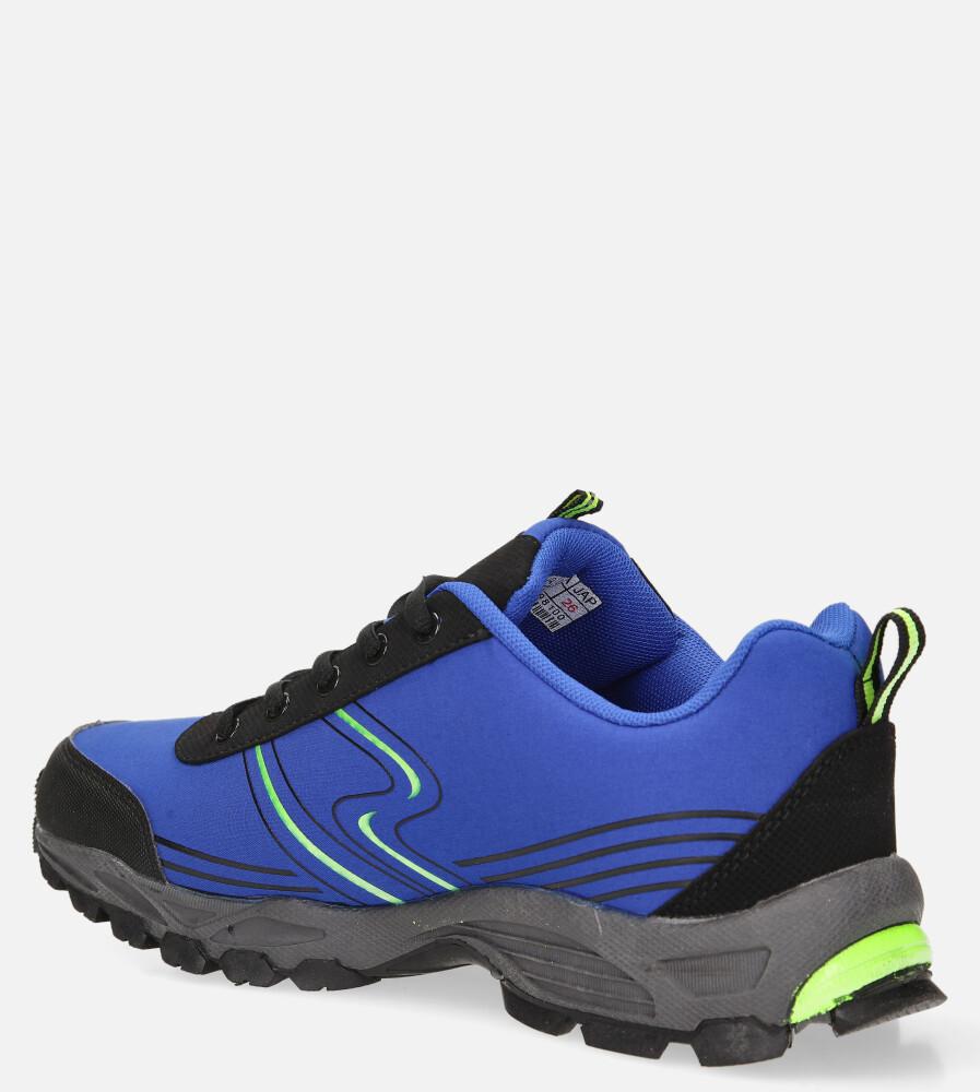 Niebieskie buty sportowe sznurowane softshell Casu A1808-4 kolor niebieski, seledynowy