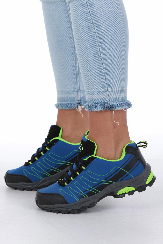 Niebieskie buty sportowe sznurowane softshell Casu B1531-2 ciemny niebieski