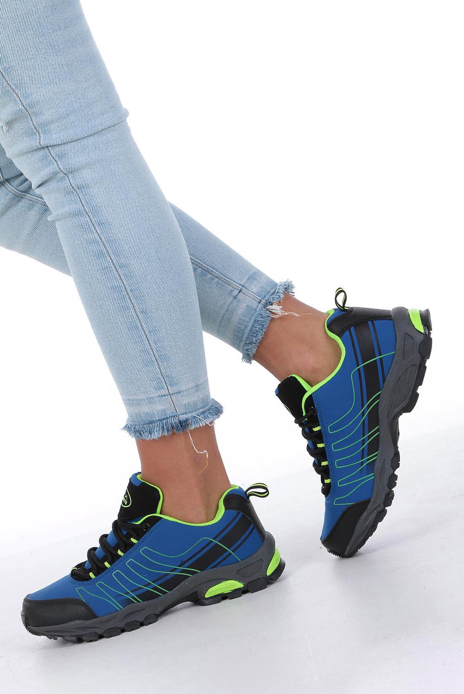 Niebieskie buty sportowe sznurowane softshell Casu B1531-2 kolor ciemny niebieski, seledynowy