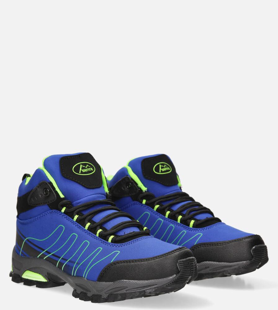 Niebieskie buty trekkingowe sznurowane softshell Casu B1530-2 producent Casu