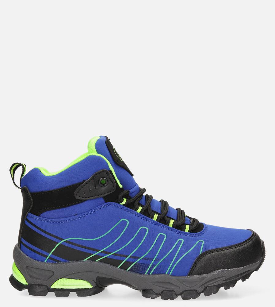 Niebieskie buty trekkingowe sznurowane softshell Casu B1530-2 niebieski